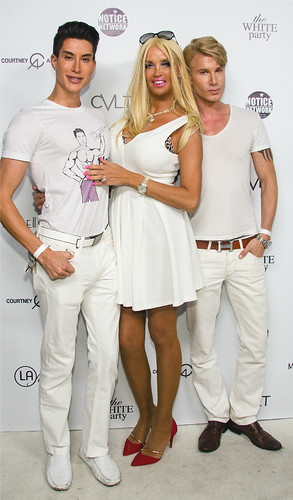 "Model/Actress Sandrine Chelly with Star friends ,Justin Jedlica (also known as ""Human Ken"")"