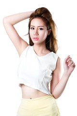 Teenage girl (Patrick Foto ;)) Tags: portrait people woman white cute girl beautiful beauty smile face fashion closeup shirt lady female standing studio asian thailand happy person one student healthy model pretty close adult body background joy young tshirt teen thai attractive teenager concept cheerful joyful isolated teenage