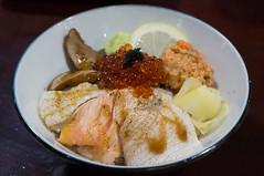 Yaowara Don (KumaYami) Tags: red lemon rice salmon don gras wasabi ikura toro negi engawa foie caviar hamachi         yaowara