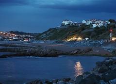 La nuit tombe sur Guthary, Pays Basque (merlaudp) Tags: ocean light france reflection night landscape coast lumire cte atlantic reflet paysage nuit basque paysbasque