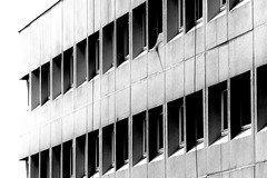 Happening of the first explosion (Beaust) Tags: city woman sun white black building window girl monochrome look wall architecture contrast war sitting looking post leg explosion apocalypse nuclear row line burn burnt sit radioactive concept bomb drama blast burned fallout mushroomcloud detonation shockwave postnuclear disharmony