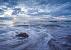 Rush.. (LoneWolfA7ii) Tags: blue light sea sky orange seascape art beach water yellow rock clouds scotland outdoor sony aberdeen shore a7ii
