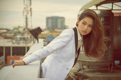 AT THE TOP (dp.davidanielr) Tags: city urban woman white color sexy rooftop beautiful fashion lady lens outfit model nikon asia cambodia southeastasia pretty afternoon photoshoot sigma clothes jacket phnompenh photosession camboya d5000