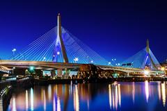 Boston's Zakim Bridge (Insite Image) Tags: longexposure nightphotography bridge boston river massachusetts charlesriver newengland bluehour zakimbridge cablestayedbridge leonardpzakimbunkerhillmemorialbridge