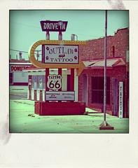 OUTLAW TATOO DRIVE IN (Leo Reynolds) Tags: polaroid fake faux phoney fakepolaroid fauxpolaroid poladroid phoneypolaroid xleol30x