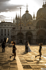 Stages of Life (San Marco, Early Morning) (filippogatteschi) Tags: layers people girls marriage couple running sport activity photoshoot background foreground story church san marco cathedral art architecture contrast stages life joy fun ties bond canon eos 70d tamron 24 70 2470 italy tourism wedding photos photography cloudy highlights photoshop cs6 reflections lights morning sunrise early dawn
