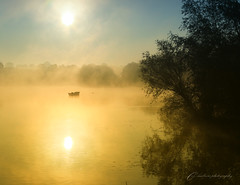 early light-explored 27/5/16 #455 (~ **Barbara ** ~) Tags: uk morning trees light mist sunshine reflections landscape boats northamptonshire foggy reservoir resi pitsford brixworthcountrypark anglianwater explored canon7dii