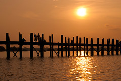U bein bridge (Terra eVita) Tags: travel bridge sunset sky people sun lake reflection nature water landscape outdoors nikon asia southeastasia outdoor dusk burma silhouettes myanmar scape mandalay anapurna ubeinbridge d90