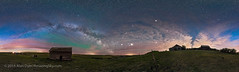 The Spring Sky over the Pioneer Farmstead (Amazing Sky Photography) Tags: panorama mars abandoned clouds barn twilight farm rustic alberta saturn prairie jupiter pioneer bigdipper 360 lightpollution milkyway farmstead arcturus summertriangle skyglow airglow ipano