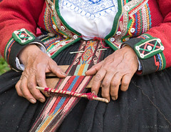 Weaving - Hands  (Explored) (cheryl strahl) Tags: color wool alpaca peru southamerica traditional dye weaving loom strands sacredvalleyoftheincas flickrexplore urubambavalley huayllabamba peruvianincatextiles centerfortraditionaltextiles huayoccarihacienda haciendahuayllabamba nationalgeographicgrantee nildacallanaupa specialprojectofculturalsurvival