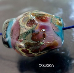 Pauleen (Laura Blanck Openstudio) Tags: pink blue usa abstract black art glass rose rock stone silver necklace beads leaf big shiny colorful aqua artist european purple handmade eggplant turquoise fine arts violet lavender funky jewelry charm holes made odd pebble lilac earthy single faceted huge mauve bead organic murano grape lampwork multicolor raku artisan pendant whimsical nugget frit openstudio asymmetric ocher focal speckles silvered openstudiobeads