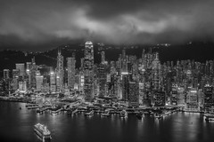 Hong Kong (Leonid Yaitskiy) Tags: china city travel sky white black reflection architecture night skyscraper buildings high nikon long exposure cityscape hong kong destination nikkor rise 50 bnw leonid d610 iaitskyi