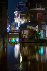 Love me (karinavera) Tags: street city longexposure travel urban building love netherlands amsterdam wall night lights graffiti canals exploration noordholland nikond5300