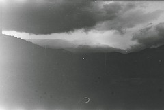 (Tamar Burduli) Tags: travel light sky blackandwhite cloud mist mountains film nature monochrome clouds analog dark georgia landscape south lightleak stalker zenit mystic mistic moviefilm sovietfilm tamarburduli roadsidepinic