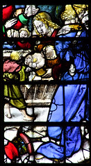 Adoration of the Angels and Shepherds (detail, English glass, 16th Century) (Simon_K) Tags: cambridge college university chapel stainedglass tudor kings cambridgeshire eastanglia 16thcentury cambs