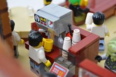 The Coffee Shop At the End of the Universe (mkjosha) Tags: coffee shop lego gates aliens clones scifi andromedas kawashita