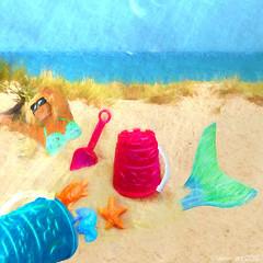 The Captured Mermaid or ... (Lemon~art) Tags: sea texture beach seaside bucket sand buried manipulation mermaid spade kreativepeople treatthis