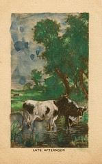 Antique Postcard - late Afternoon, Cattle (Brynn Thorssen) Tags: trees sky plants white lake green water field grass rural vintage river watercolor painting pond agua aqua stream day afternoon cattle cows post eating antique farm postcard country drinking picture meadow horns card fields herd grazing bucolic holstein horned