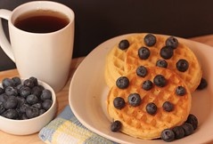 Breakfast for Dinner (catherine4077) Tags: tea waffles blueberries whiteplate whitecup brakfast