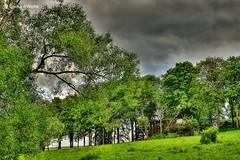 Regenwolken (GerWi) Tags: trees house clouds landscape outdoor htte wiese wolken haus landschaft bume acker regenwolken heiter