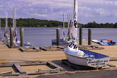 One Opening Left (joegeraci364) Tags: new travel summer vacation england sky cloud seascape color art beach water weather museum vintage season relax landscape fun outdoors coast boat ship connecticut small scenic craft shore boating sail destination leisure serene nautical tallship schooner trap mystic seaport