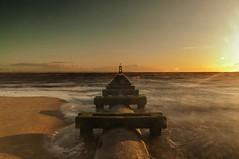 A Thought (Tony Shertila) Tags: sea england sky beach weather geotagged golden europe day unitedkingdom britain horizon pipe clear cast crosby bootle merseyside irishsea gbr anotherplace ourdoor liverpoolbay blundellsands blundellsandsward geo:lat=5348117627 geo:lon=304615259 20150827221533