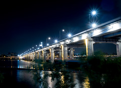Han River (shimdakyum) Tags: park bridge blue light summer reflection night river nikon riverside seoul han j5 hangang