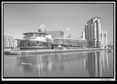 quays_long_exp3 (The_Jon_M) Tags: uk england urban bw manchester salfordquays april greater salford lowry greatermanchester 2013