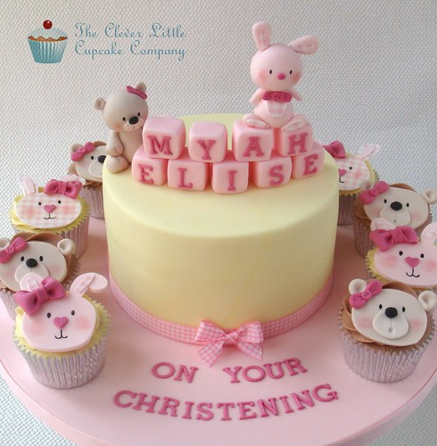 Bunny and Teddy Christening Cake