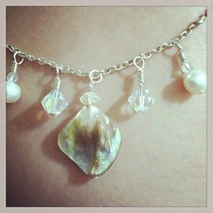 Pearl charm necklace (momaslilsweetpea) Tags: ocean summer white cute beach necklace wire shiny pretty crystal mother jewelry charm chain trendy pearl chic etsy boho stylish freshwater