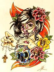 Mujer (Marta Carreo Tattoos) Tags: mujer arte dibujo tatuaje calavera calaveramexicana