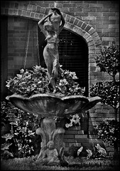 Heights Classic Figure Fountain BnW (oldusephemera) Tags: city blue original light shadow red portrait people favorite woman dog pet house man flower detail cute art nature face leaves weather animal yellow closeup contrast cat fence pose garden dark bench photo funny colorful child purple artistic candid best deli emotional darling bnw viral