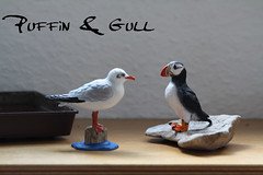 Puffin & Gull (amithi) Tags: gull puffin papo plasticanimals bullyland