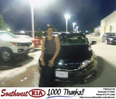 Southwest KIA of Rockwall would like to say Congratulations to Angela Christian on the 2013 Kia Optima (Southwest Kia Rockwall) Tags: new southwest car sedan truck wagon happy dallas texas tx used vehicles mesquite bday dfw kia van suv coupe rockwall dealership hatchback dealer customers minvan 4dr metroplex shouts 2dr preowned