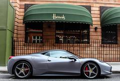 Harrods. (Aarons14) Tags: camera summer cars car june canon grey italia ferrari harrods knightsbridge 1855mm v8 matte 500d 458 2013 londonsupercars aarons14