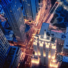 Chicago Bound Blues (Sky Noir) Tags: above city chicago streets night lights evening high cityscape view blues il bound birdseye