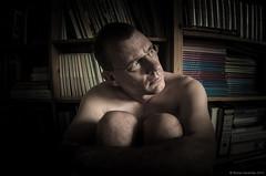 September 7th - Glimpses of my Life VII (Rense Haveman) Tags: selfportrait home nude highcontrast books bookshelf headshot desaturated lowkey vignette nudish mezmerizing zenitar16mm28 pentaxk5 rensehaveman singleinseptember2013