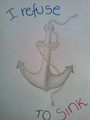 I refuse to sink<3 (justbadluck) Tags: blackandwhite drawing anchor staystrong irefusetosink flickrandroidapp:filter=none