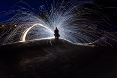 Woolspin...BMX Bowl (Callaghan69) Tags: longexposure light wool night painting photography wire nikon bmx nightscape fireworks spin north bowl burning northumberland burn spinning slowshutter paintingwithlight 1855 nikkor sparks seaton ashington d7100 lighttool woolspin paddockwoods