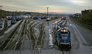 Conrail locomotives are seen in yard during the early evening at Altoona, Pennsylvania, November 1995