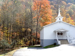 Sunnyvale Baptist Church, NC 80 (Martin LaBar) Tags: northcarolina church building autumn stream cross steeple colors trees fall