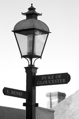 0339 (Marbeck53) Tags: street trip travel vacation bw signs lamp gloomy post bokeh roofs va colonialwilliamsburg markriesenbeck marbeck54