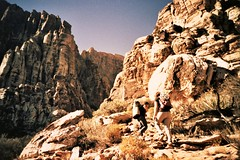 Honeymoon in Red Rocks (docpop) Tags: film lomo lca lomography rocks lasvegas crossprocess nevada canyon climbing redrock 100iso multipitch tungsten64