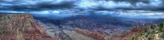 Angry Canyon (aeruginosa) Tags: sky panorama storm rain clouds lluvia nuvole grandcanyon pluie ciel cielo nubes angry tormenta nuages pioggia hdr highdynamicrange tempte hugin colere