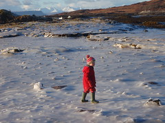 Fun in the ice, winter freeze in Arisaig Bay with Rum and Eigg in the distance - Alison O'Rourke