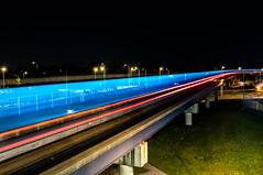 Gatwick Monorail 2 (JamesGreig123) Tags: camera light night speed train photography nikon long exposure tracks trail shutter monorail gatwick