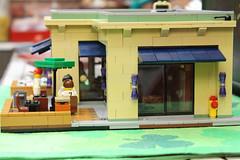 Side View (brickbuilder711) Tags: coffee shop train restaurant town store lego tea version starbucks 32 moc
