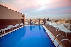 Swimming Pool Sunset (Marlytyz) Tags: barcelona rooftop hotel spain swimmingpool h10marina