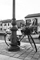 Acier: Vlo et lampadaire (Paolo Pizzimenti) Tags: village paolo olympus f18 quai zuiko italie vlo lampadaire omd em1 doisneau acier cesenatico 17mm m43 pave