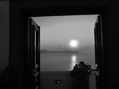Helicopter (Dimitris Moukakis) Tags: sunset sea white black window beautiful canon island greek holidays santorini greece helicopter harmony oia ixus115 dimitrismoukakis